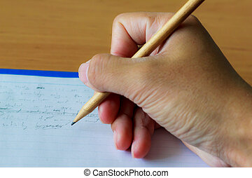 hand writing by pencil