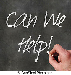 Hand Writing 'Can We Help'