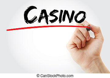 Hand writing Casino with marker
