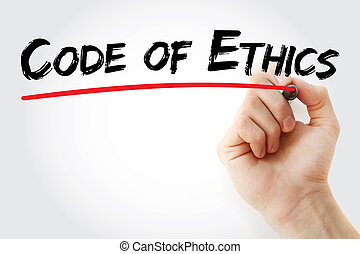 Hand writing Code of Ethics with marker, concept background
