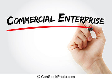 Hand writing Commercial enterprise with marker