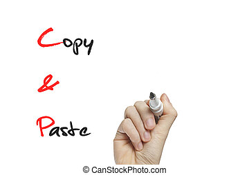 Hand writing copy paste on a white board