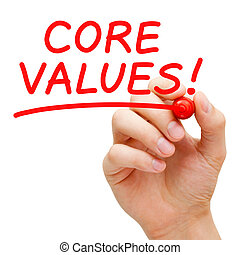 Core Values - Hand writing Core Values with red marker on...