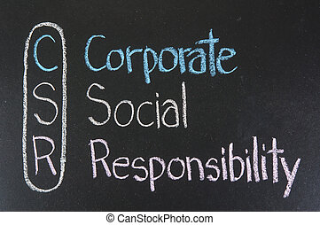 hand writing corporate social responsibility ( CSR ) concept on chalkboard