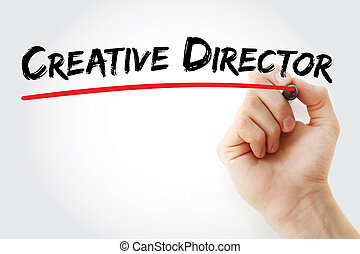 Hand writing Creative director with marker