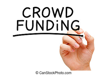 Crowd Funding - Hand writing Crowd Funding with black marker...