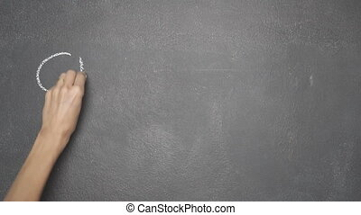 """Hand writing """"CRYPTOCURRENCY"""" on black chalkboard - Woman's..."""