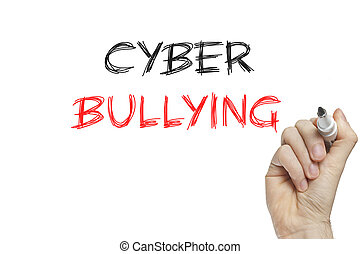 Hand writing cyber bullying on a white board