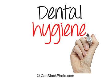 Hand writing dental hygene on a white board