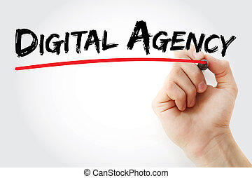 Hand writing Digital agency with marker