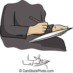 Hand writing digital stylus on the phone tablet vector...