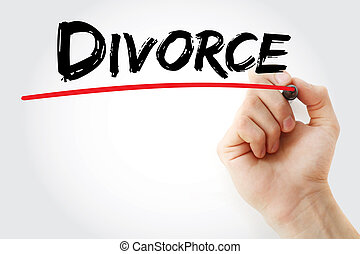 Hand writing Divorce with marker, concept background