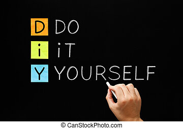 The letters diy do it yourself written in vintage letterpress type diy do it yourself solutioingenieria Images