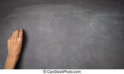 "Hand writing ""DO IT!"" on black chalkboard - Woman's hand..."