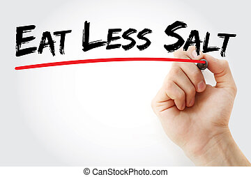 Hand writing Eat Less Salt with marker