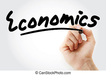 Hand writing ECONOMICS with marker, business concept