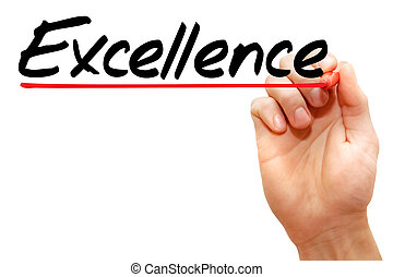 Hand writing Excellence, business concept