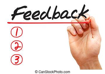 Hand writing Feedback List, business concept
