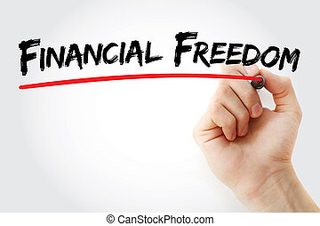 Hand writing Financial Freedom with marker, concept...