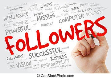 Hand writing FOLLOWERS with marker, business concept ...