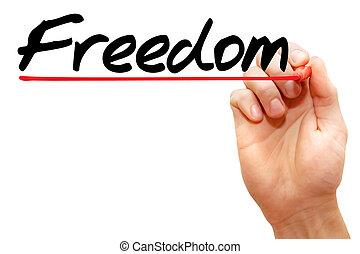 Hand writing Freedom, business concept