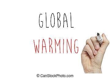 Hand writing global warming