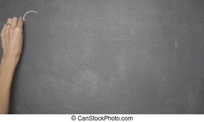 "Hand writing ""GOOD MORNING"" on black chalkboard - Woman's..."