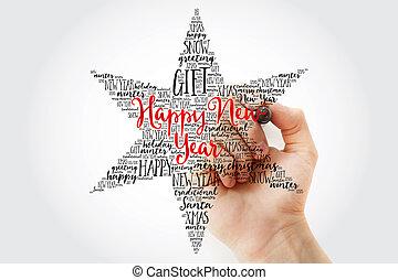 Hand writing Happy New Year.