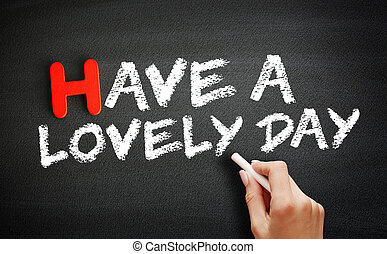 Hand writing Have a Lovely Day on blackboard, concept background