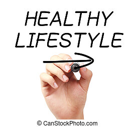 Hand writing Healthy Lifestyle with black marker on transparent wipe board.