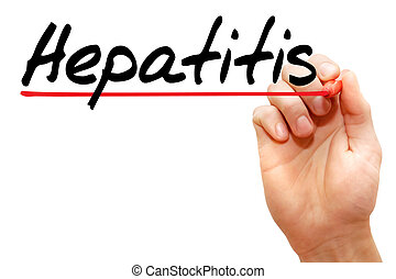 Hand writing Hepatitis with marker, concept
