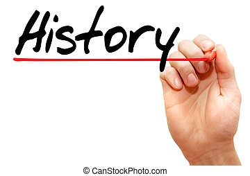 Hand writing History with marker, business concept