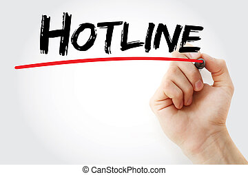 Hand writing Hotline with marker