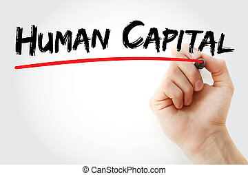 Hand writing Human capital with marker, concept background