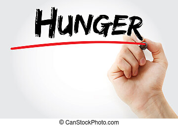 Hand writing hunger with marker