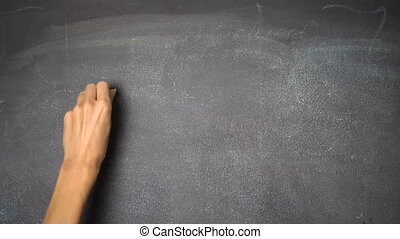 "Hand writing ""IDEA"" on black chalkboard - Woman's hand..."