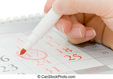 Hand writing important date
