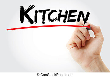 Hand writing Kitchen with marker
