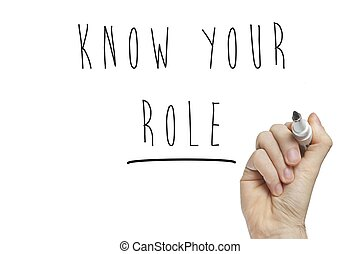 Hand writing know your role on a white board