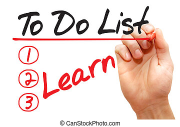 Hand writing Learn in To Do List, business concept