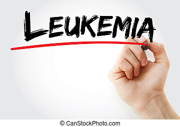 Hand writing Leukemia with marker