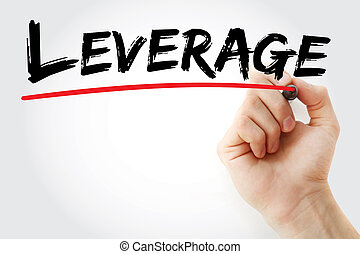 Hand writing Leverage with marker, business concept...
