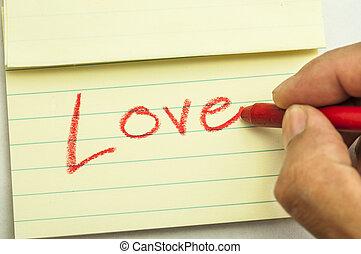 Hand writing love note