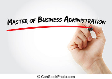 Hand writing Master of Business Administration