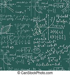 Hand writing maths formula on seamless greenboard
