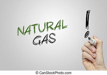 Hand writing natural gas