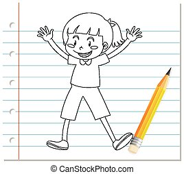 Hand writing of cute girl with gleeful posing outline