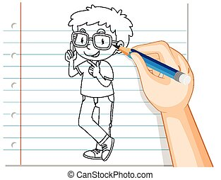 Hand writing of nerdy boy outline illustration