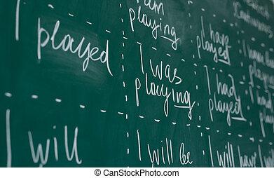 Hand writing on a chalkboard in an language english class