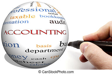 Hand Writing on Accounting Cirlce word concept with terms...